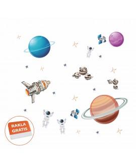 Naklejka na ścianę dla dzieci planety kosmos astronauci gwiazdy