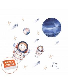 Naklejka na ścianę dla dzieci astronauci planety kosmos gwiazdy