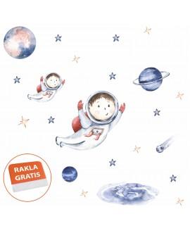 Naklejka na ścianę dla dzieci kosmos planety astronauta gwiazdy