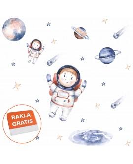 Naklejka na ścianę dla dzieci kosmos astronauci planety gwiazdy