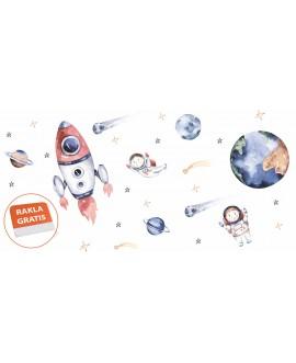 Naklejka na ścianę dla dzieci planety gwiazdy kosmos rakieta astronauta