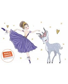 Naklejka na ścianę dla dzieci baletnica jelonek serduszka gwiazdki